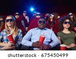 young people wearing 3d glasses ... | Shutterstock . vector #675450499
