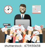 caucasian businessman working... | Shutterstock .eps vector #675450658
