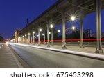 bridge bir hakeim in paris at... | Shutterstock . vector #675453298