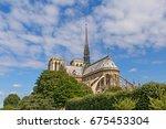 view on notre dame de paris... | Shutterstock . vector #675453304