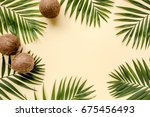 tropical green leaves palm... | Shutterstock . vector #675456493