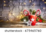 rustic christmas background... | Shutterstock . vector #675465760