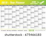 year planner calendar 2018  ... | Shutterstock .eps vector #675466183