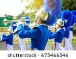 trumpet brass band in uniform... | Shutterstock . vector #675466546