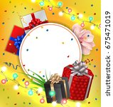 greeting card with lights... | Shutterstock .eps vector #675471019