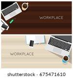 top view laptop computer...   Shutterstock . vector #675471610