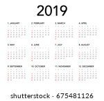 simple calendar layout for 2019 ... | Shutterstock .eps vector #675481126