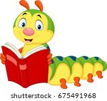 cartoon caterpillar reading book | Shutterstock .eps vector #675491968