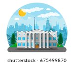 bank building with city... | Shutterstock .eps vector #675499870