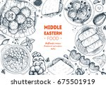 middle eastern cuisine top view ... | Shutterstock .eps vector #675501919