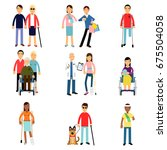 disabled men and women... | Shutterstock .eps vector #675504058