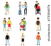 disabled people characters ... | Shutterstock .eps vector #675504076