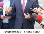 press interview. hand gesture.... | Shutterstock . vector #675514180