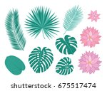 set of tropical leaves and pink ... | Shutterstock .eps vector #675517474