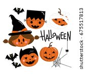 happy halloween greeting card.... | Shutterstock .eps vector #675517813
