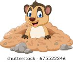 cartoon meerkat in a hole | Shutterstock .eps vector #675522346
