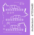 thin line style car assembly... | Shutterstock . vector #675524680