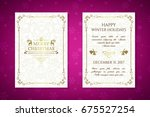 christmas posters with golden... | Shutterstock .eps vector #675527254