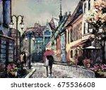 oil painting on canvas european ... | Shutterstock . vector #675536608