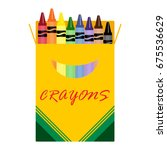 wax colorful crayons  blue ... | Shutterstock .eps vector #675536629