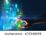 female finger touching a beam... | Shutterstock . vector #675548098