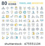 set of line icons  sign and... | Shutterstock . vector #675551134