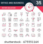 set of line icons in flat... | Shutterstock . vector #675551164