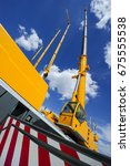 mobile construction cranes with ... | Shutterstock . vector #675555538