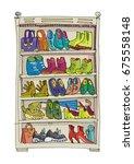 shoe rack full of fashionable ... | Shutterstock .eps vector #675558148