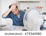 sweaty man trying to refresh... | Shutterstock . vector #675560080
