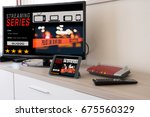 smart tv and digital tablet... | Shutterstock . vector #675560329