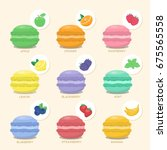 set of macaroons with different ... | Shutterstock .eps vector #675565558