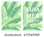summer party poster. banana... | Shutterstock .eps vector #675569509