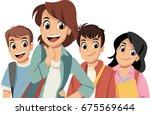 cute cartoon children with... | Shutterstock .eps vector #675569644