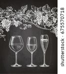set of wineglasses and grape... | Shutterstock .eps vector #675570718