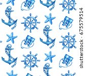 seamless pattern with nautical... | Shutterstock . vector #675579514