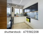 modern kitchen interior design... | Shutterstock . vector #675582208
