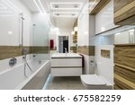 modern bathroom interior design ... | Shutterstock . vector #675582259