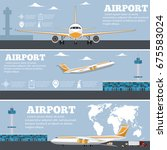 airport poster set with... | Shutterstock .eps vector #675583024