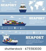 sea shipping flyer template set.... | Shutterstock .eps vector #675583030