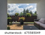 home terrace with wooden floor... | Shutterstock . vector #675585049