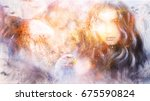 goddess woman and eagles in... | Shutterstock . vector #675590824