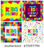 set of kids menu banner design. ... | Shutterstock .eps vector #675597790
