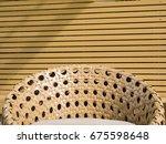 rattan sofa with wooden... | Shutterstock . vector #675598648