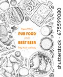 pub food frame vector... | Shutterstock .eps vector #675599080