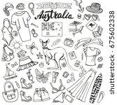 fashion illustration. australia ... | Shutterstock .eps vector #675602338