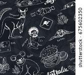 australia travel doodles... | Shutterstock .eps vector #675602350
