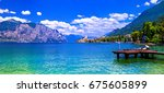 lago di garda   beautiful... | Shutterstock . vector #675605899