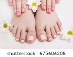 nude pedicure and manicure for... | Shutterstock . vector #675606208