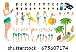 isometric set of gestures of... | Shutterstock .eps vector #675607174